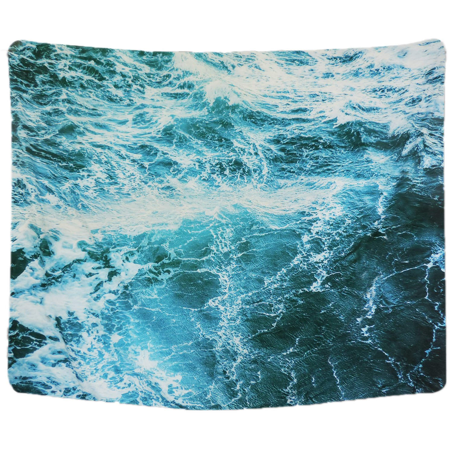 Wall Tapestry Blue Ocean Wave Tapestry Sea Wall Hanging Tapestry Wall Art Decor Tablecloth (Spray59.1