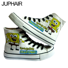 JUP Girls Fashion Lovers Female Footwear Adult Hand Painted Canvas Shoes Applicable Crowd Men Males Anime Yellow Spongebob Shoes