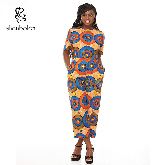 8f7086208d94 African clothing for women Jumpsuits ankara wax printing fabric pure cotton  lady short sleeve Rompers traditional clothes
