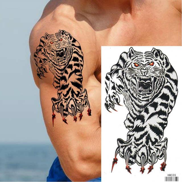 Koning Paard Tijger Tattoo Voor Man Water Transfer Tattoo Nep Tattoo Waterdichte Body 17x10 Cm Tijdelijke Tattoo Sticker