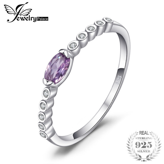 JewelryPalace Classic 0.34ct Created Alexandrite Sapphire Engagements Ring For W