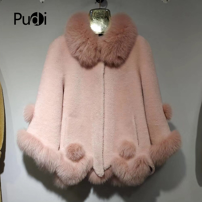PUDI A17093 vrouwen winter warm echte wol bont met vos bont kap jas dame jas jas overjas-in Echt Bont van Dames Kleding op  Groep 1
