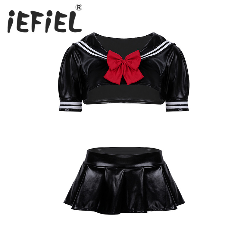 Fashion Sexy Women Adult PU Leather Sailor School Girls Cosplay Costume Suit Crop Top with Pleated Skirt G-string and Bowtie