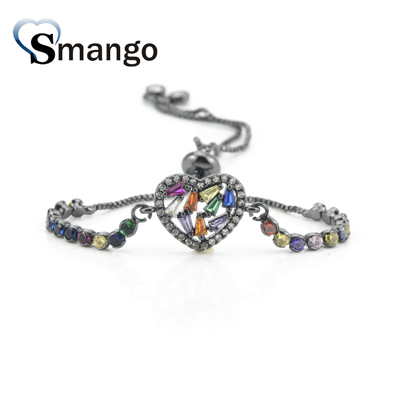 5Pieces 2019 New Arrival The Rainbow Series The Heart Shape Irregularity Bracelet 4 Colors Can Wholesale in Chain Link Bracelets from Jewelry Accessories