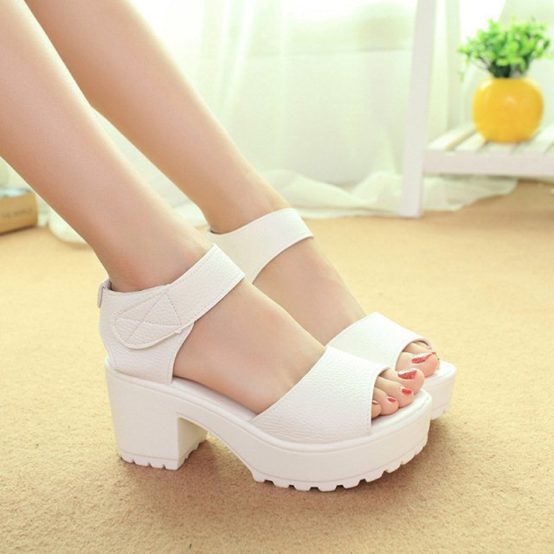 DreamShining Fashion Sandals Women Summer Shoes Wedges Open Toe Thick Heel Mujer Soft PU Women Platform Sandals High-Heeled 2017 summer shoes woman platform sandals women soft leather casual open toe gladiator wedges sandalia mujer women shoes flats