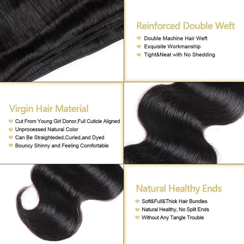 "Funmi Hair Brazilian Body Wave Virgin Hair Bundles With Closure 4PCS Human Hair Bundles With Closure 8-28 ""Virgin Hair Extension"