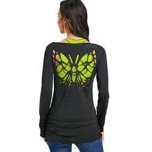 bbd6d321 Gamiss manga larga mariposa corte T-Shirt mujeres moda Casual camiseta Tops  U cuello cruzada corte camisetas Camiseta