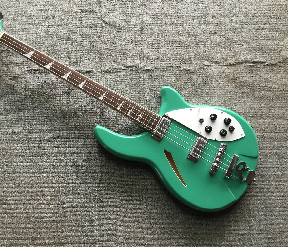 Factory custom green 4 string bass, white guard, rosewood lightning inlaid fingerboard, high quality, customizable(China)