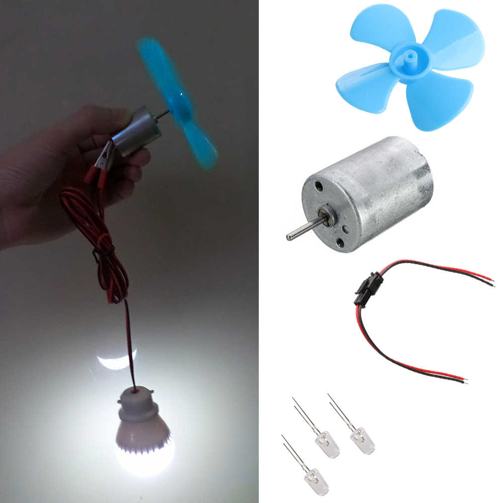 Micro Windturbines Generator Mini Motor Met Bladen LED DIY Kit