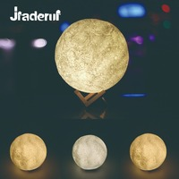 Jiaderui USB 3D Moon Lamp Rechargeable Table Lamp 2 Color Change Touch Switch Nightlight Decor Home