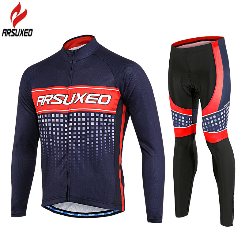 ARSUXEO 2018 Pro Team Mens Long Sleeve Cycling Jersey Set with Sponge Pad Road Mountain Bike Bicycle MTB Clothing Sets Uniform