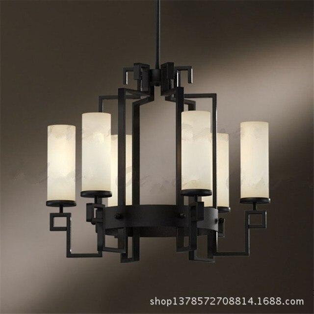 Modern Chandelier Engineering Lighting Restaurant Black Wrought Iron Living Room 6 Led Crystal Chandeliers