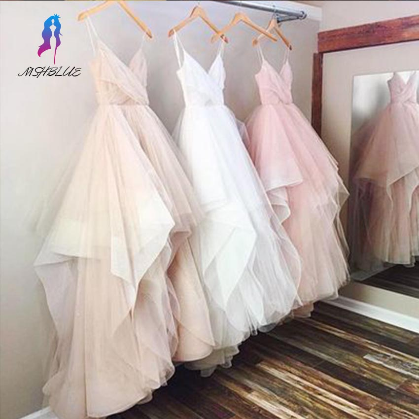 Gorgeous V-neck Spaghetti Strap Asymmetrical   Prom     Dresses   For Teens Tulle Ruched Zipper Back Floor Length Fashion Party Gowns