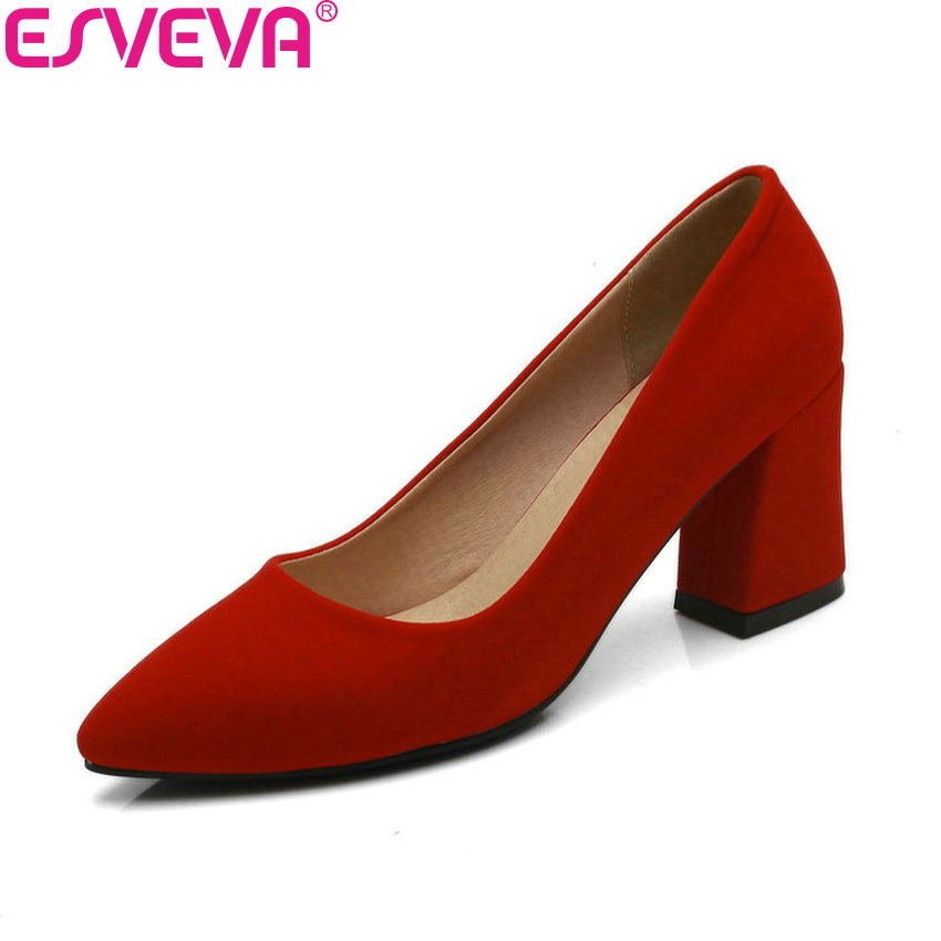 ESVEVA 2018 Women Pumps Black Square High Heels Slip on Pointed Toe Western Style Flock/sequins Pumps Women Shoes Size 34-43 comfy women pointed toe square high heels office shoes woman flock ladies pumps plus size 34 40 black grey high quality