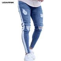 Men Slim Ripped Jeans Side Striped Zipper Denim Pencil Pants Destroyed Frayed Designed Full Length Streetwear Blue 224 151