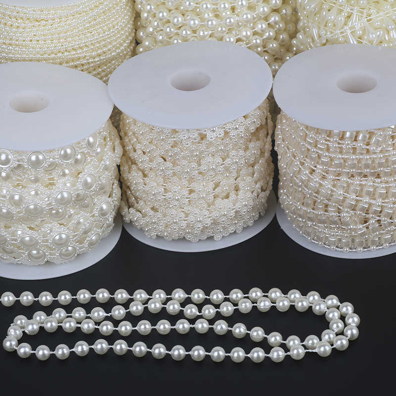 Pick Size 2-10m Fishing Line Artificial Pearls Beads Chain DIY Garland Wedding Party Decoration Supplies Bride Flowers Accessory