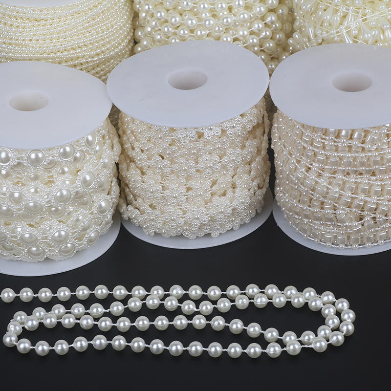 Pick Size 2-10m Fishing Line Artificial Pearls Beads Chain DIY Garland Wedding Party Decoration Supplies Bride Flowers Accessory image