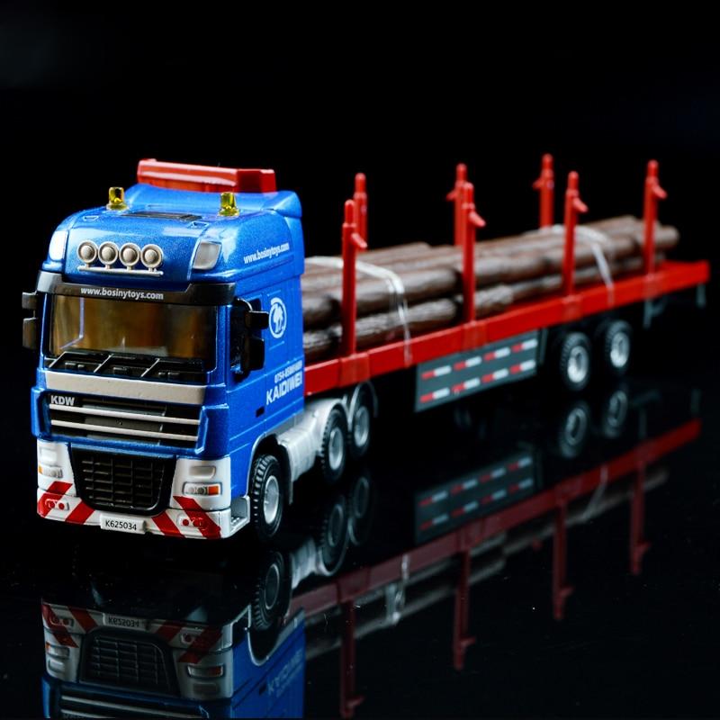 1:50 Вантажний контейнер Деревина Транспортер Вантажівка Інженерна модель автомобіля Сплав металевий Платформа Трейлер Вантажівки Вибране Модель