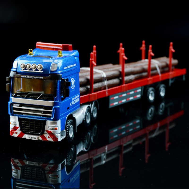 1:50 kargo kontainer kayu transporter kendaraan rekayasa truk model paduan logam flatbed trailer model truk toys favorit
