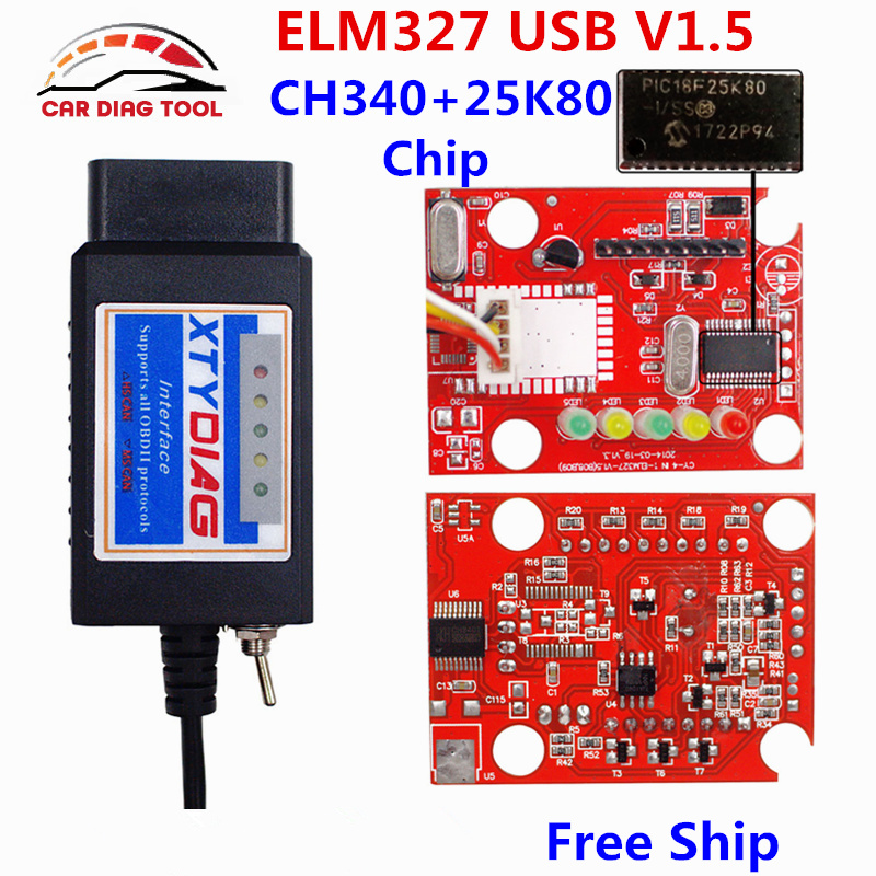 2018 Newest XTYDIAG ELM327 USB V1.5 ELM 327 OBD2 Scanner With Modified Switch ELMconfig CH340+PIC18F25K80 Chip HS-CAN / MS-CAN