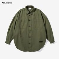 Aolamegs Hommes Surdimensionné Shirts High Street Drop Épaule Manches Chauve-Souris Chemises Sangle Patchwork Harajuku Chemises De Mode Streetwear