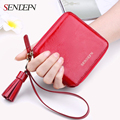 Sendefn Genuine Leather Mini Tassel Short Women Wallet Lady Short Pocket Wallet Coin Purse Card Holder Phone Wallet Female