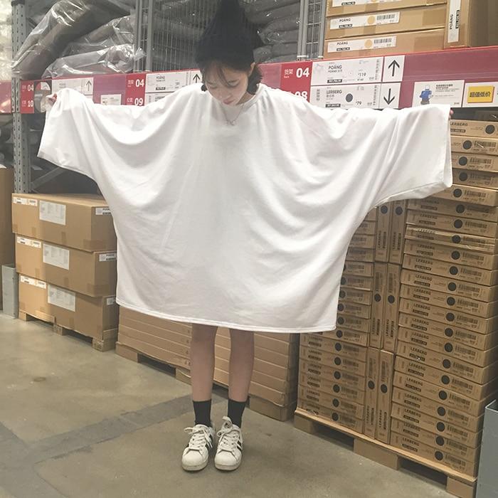Woman Tops Tees 2020 New Blusas Korean Ulzzang Women Harajuku Long Batwing Sleeve Color T-shirts Plus Size Loose White T Shirt