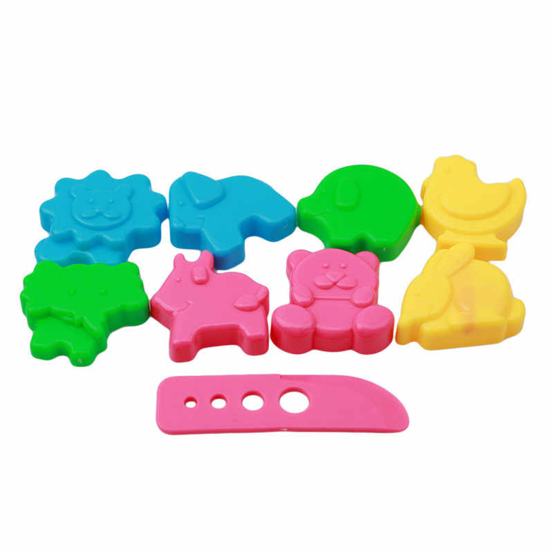 Colorful Children Educational Toy Gift Plasticine Mold Tool 9pcs/set Mixed Color Plastic Plasticine Clay Dough Moulds Set Gifts