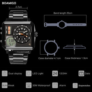 Image 2 - 2019 nowych moda BOAMIGO Top marka luksusowy męski zegarek 30m wodoodporny zegar z automatyczną datą męskie zegarki mężczyźni cyfrowy zegarek na co dzień