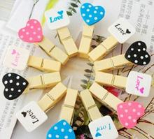2016 Lovely Preach Heart DIY Clip Album Decor Wooden Paint Clip Kawaii Japanese Scrapbooking Clip Wedding