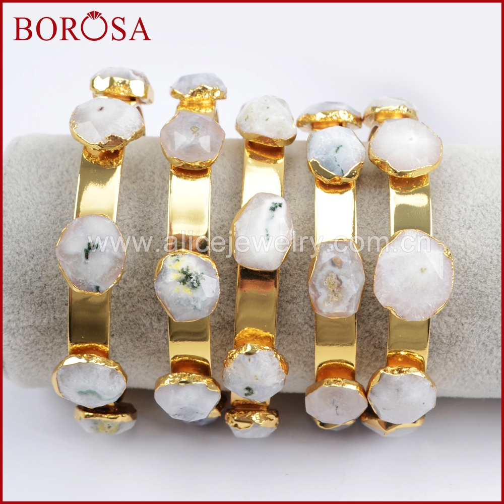 BOROSA 5Pcs Gold Color Five Natural White Solar Quartz Druzy Stone Faceted Bangle Sunflower Bangles for Women as Gifts G1438