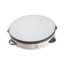 6 Inch Tambourine with Jingles Percussion Musical Instrument Toy for Baby Children Kids - Burlywood
