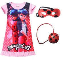58b0ece843bf 2018 New Miraculous Lady Bug Dresses casual Clothes Kids Short Sleeve Dress  little Girls Summer Evening Party Clothing masks bag