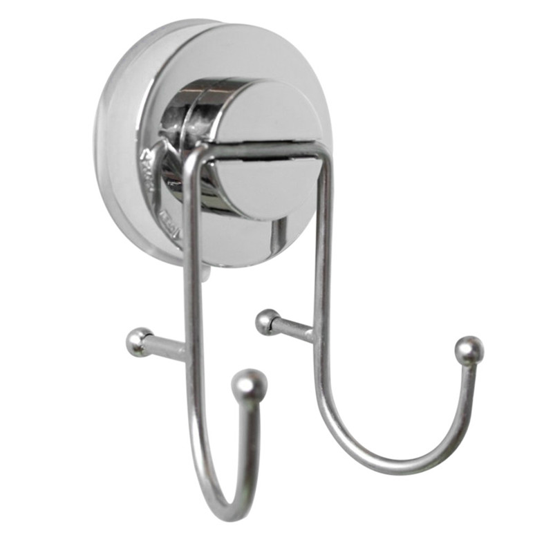 Strong Suction Cup Tile Towel Hanger Rack Stainless Steel Quality Double Hooks Home Stor ...