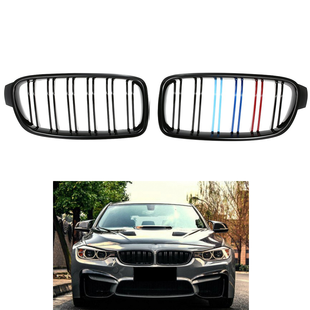 Pair of Gloss Black Double Slat M-Color Racing <font><b>Grille</b></font> for BMW <font><b>F30</b></font> F35 12-15 image