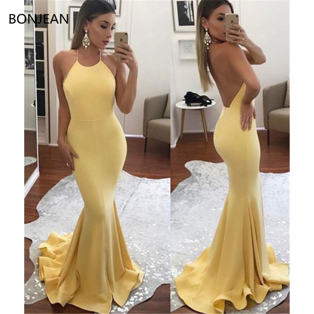 2019 Yellow Evening Dresses Long Halter Satin Gown Sleeveless Mermaid Formal Evening Party Dress for Women