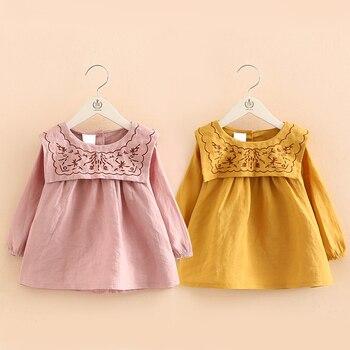 Baby Girl T Shirt Spring Autumn embroidery Flower Children blouse Cute Kids Girls Clothes Princess Style dress Children Costume