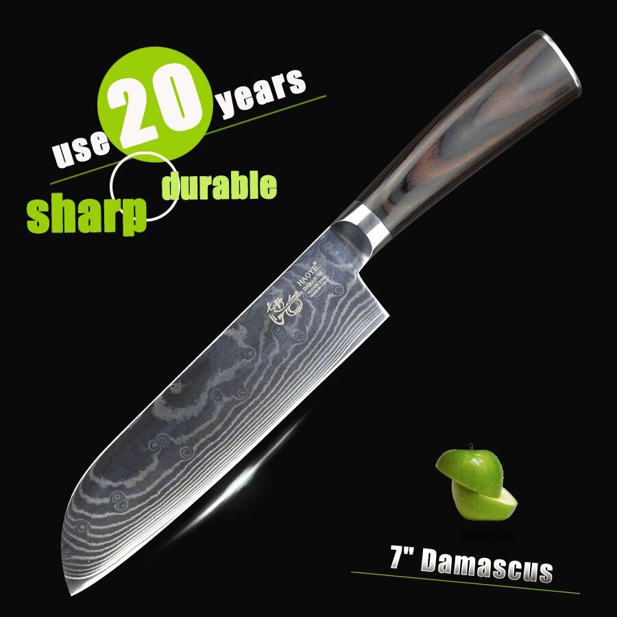 """HAOYE 7 """"Damask Santoku nůž Japonský vg10 kvalitní kuchyňský nůž řezané maso ryb rostlinné móda kráječ řezačka nůž vaření"""