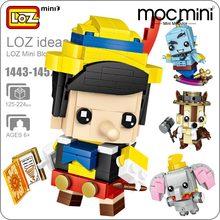 LOZ Mini Blocks Figure Cartoon Squirrel Mermaid Bear Princess Robot Cowboy Elephant Building Bricks Assembly Toys Gift 1443-1452