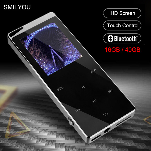 Kim Loại Sang Trọng MP4 Nghe Bluetooth Cho Người Chơi Di Động Slim MP3 MP4 Truyền Thông 2.4 Inch Phím Cảm Ứng Đài FM 16 GB/ 40GB Tặng