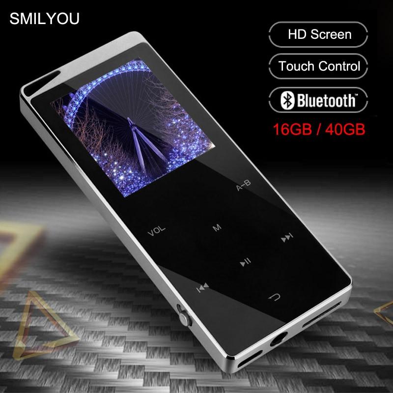 Lecteur MP4 en métal de luxe lecteur Bluetooth Portable mince MP3 MP4 Media 2.4 pouces touche tactile Radio FM 16 GB/40 GB lecteur de musique cadeau