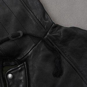 Image 4 - Ý Cổ Điển Cho Nam Dài Da Cừu Tự Nhiên Da Áo Khoác Mùa Đông Da Thật Moto Biker Top Thương Hiệu Mult Túi Săn Bắn áo Khoác