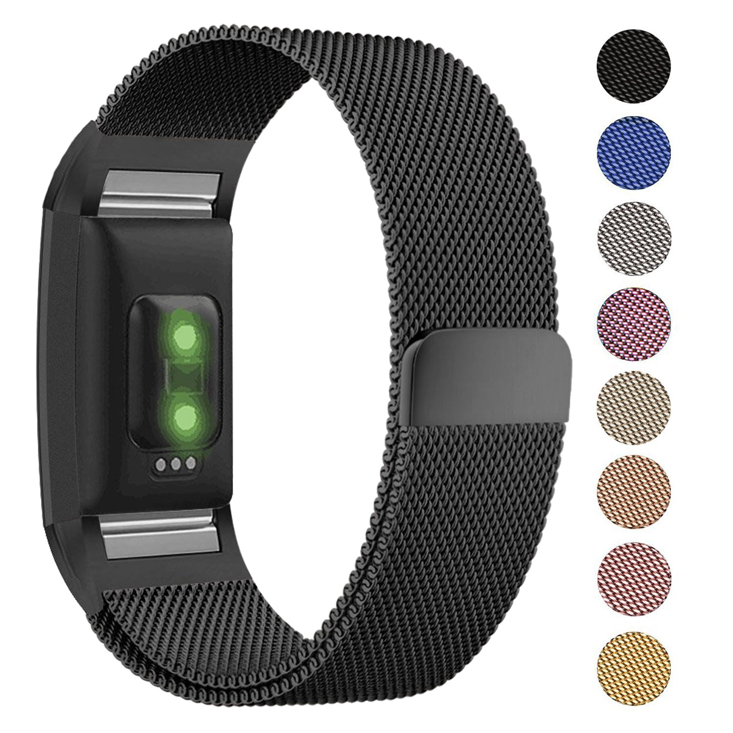For FitBit Charge 2 Wristband Metal Stainless Milanese Magnetic Loop Band StrapF