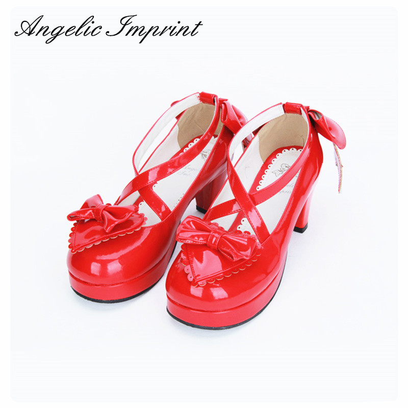 Girls Red Leather Sweet Lolita Shoes Criss Cross Strappy Pumps Princess Sweetheart Party Shoes contrast piping criss cross teddy