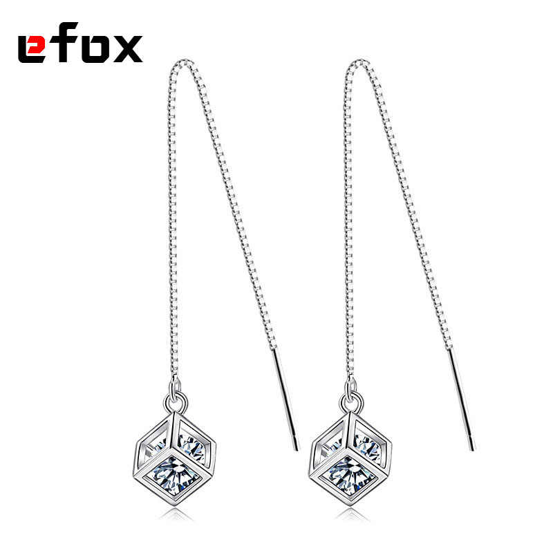 Long Line Chain Drop/Dangle Earrings 925 Sterling Silver Happiness Cube Crystal Zirconia Fashion Jewelry For Women