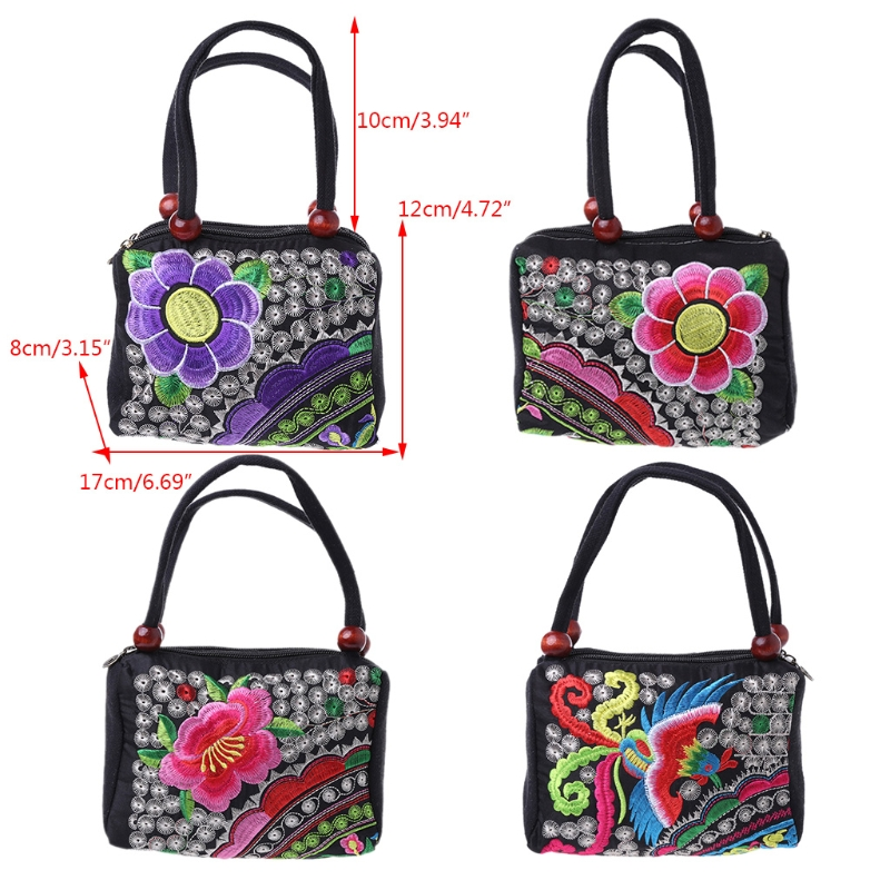 Women Flower Embroidery Ethnic Purse and Phone Bags Hot Coin Purse Case Retro Canvas Handbag New Fashion Small Bags THINKTHENDO