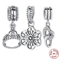 Authentic 925 Sterling Silver My Princess Clear CZ Pendant Dangling Tiara Charm Fit Pandora Bracelet Jewelry