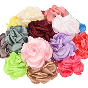 10PCS Burning Flowers Fashion Hair Accessories Satin Flower Artificial Rose Flower Cute Fabric flowers No hair Clip for Headband(China)