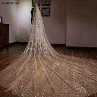 Gorgeous Bling Bling Gold Spraying 3 Meters Long 3 Meters Wide Silver Sequins Wedding Veil Bridal Chapel Veil With Comb