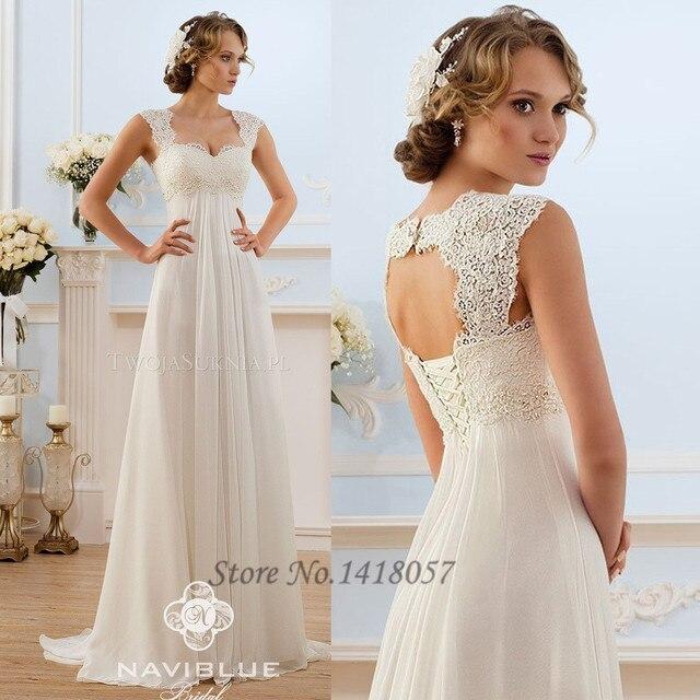 Summer Cheap Empire Maternity Wedding Dresses 2015 Lace Backless Corset  Back Chiffon A Line Bridal Gown e5e5d0fea3c1